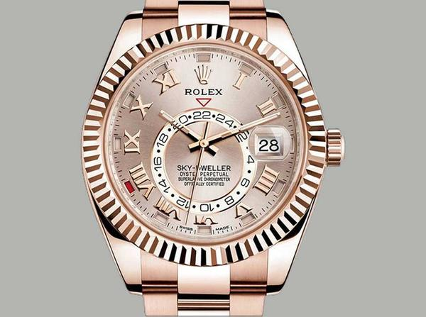 Contrefacon-Rolex-Skydweller-Or-Rose